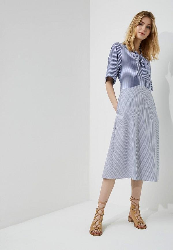 женское платье carven, голубое