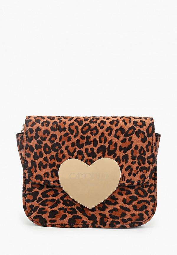 женская сумка camomilla italia, коричневая