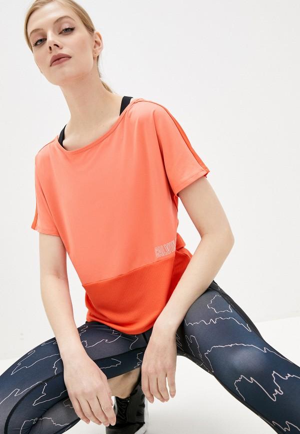 женская спортивные футболка calvin klein, оранжевая