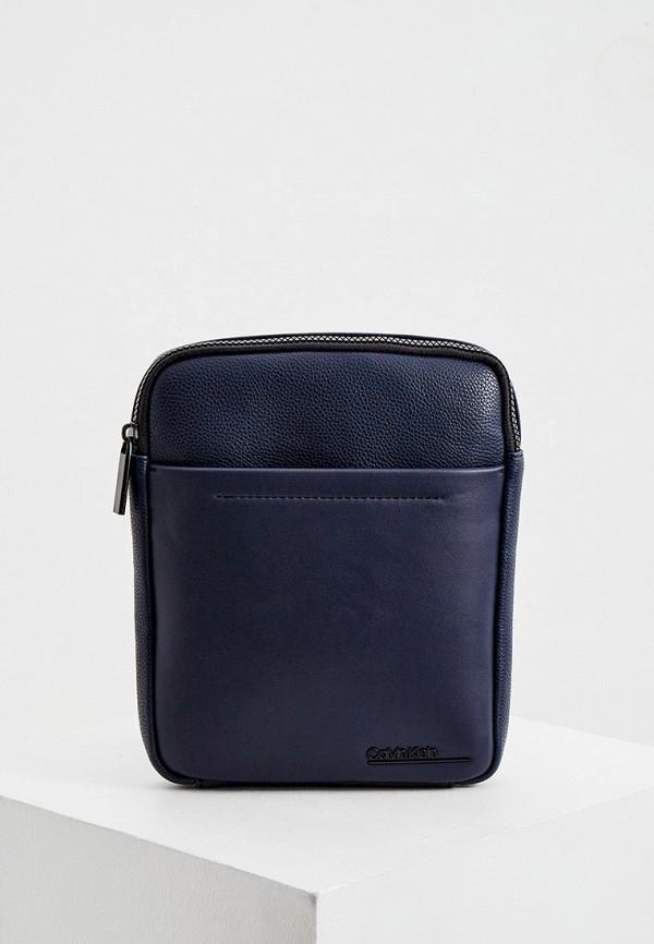 мужская сумка через плечо calvin klein, синяя