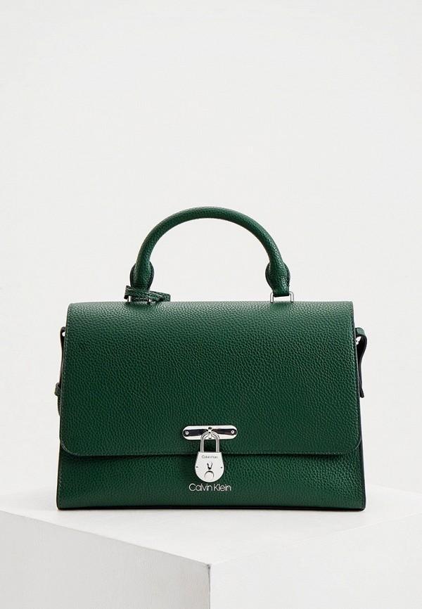 женская сумка с ручками calvin klein, зеленая
