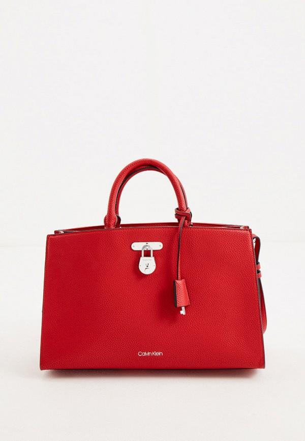 женская сумка с ручками calvin klein, красная