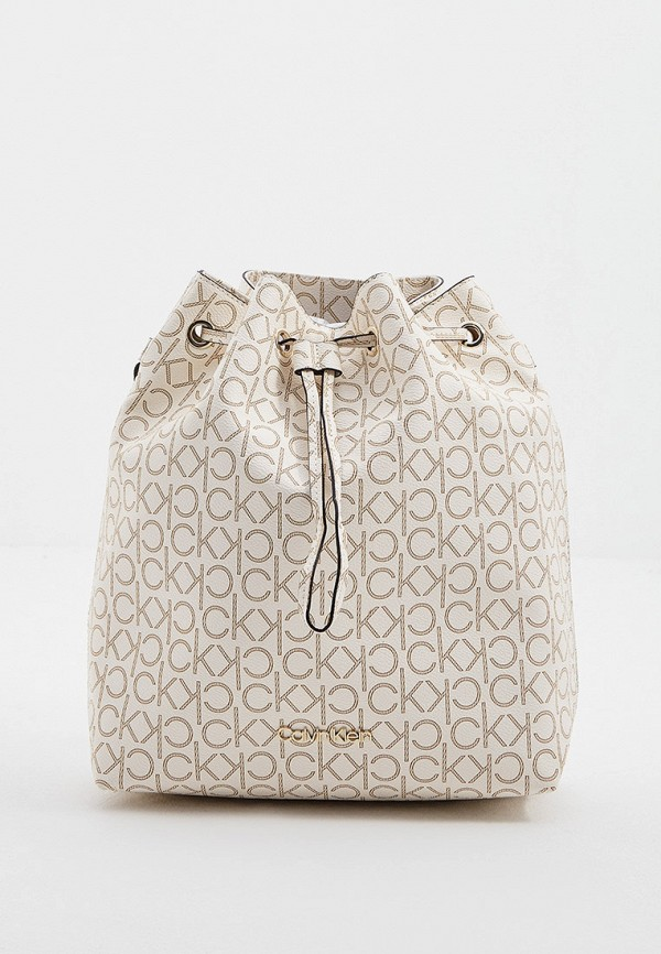 женская сумка-ведро calvin klein, бежевая