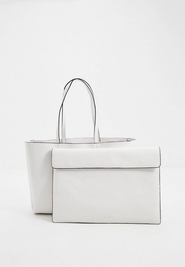 женская сумка-шоперы calvin klein, белая