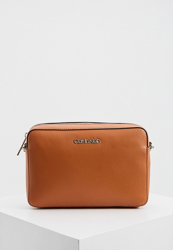 женская сумка через плечо calvin klein, коричневая