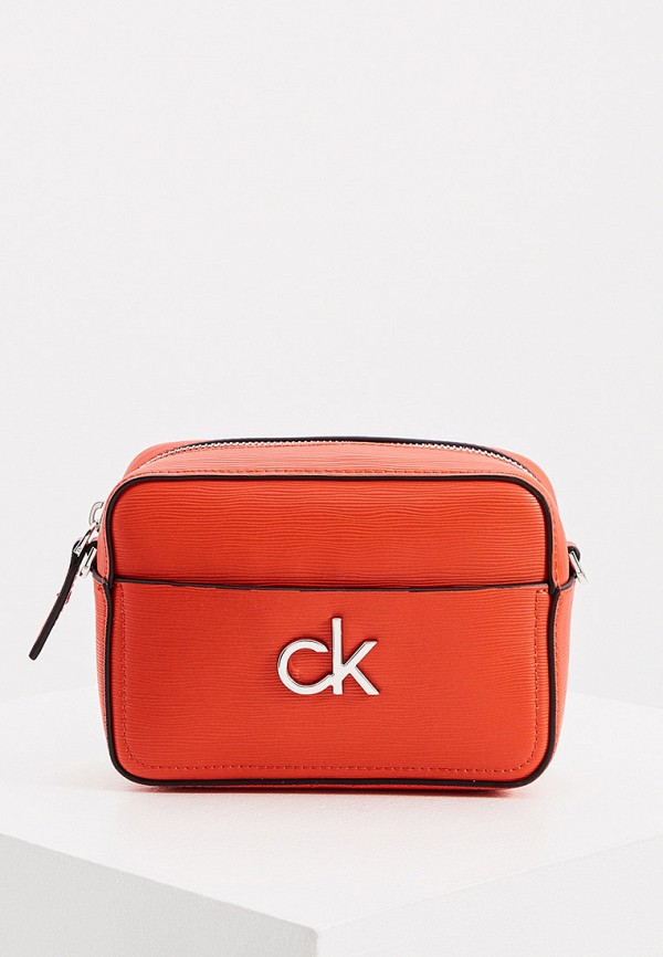женская сумка через плечо calvin klein, красная