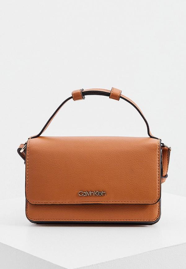 женская сумка с ручками calvin klein, коричневая