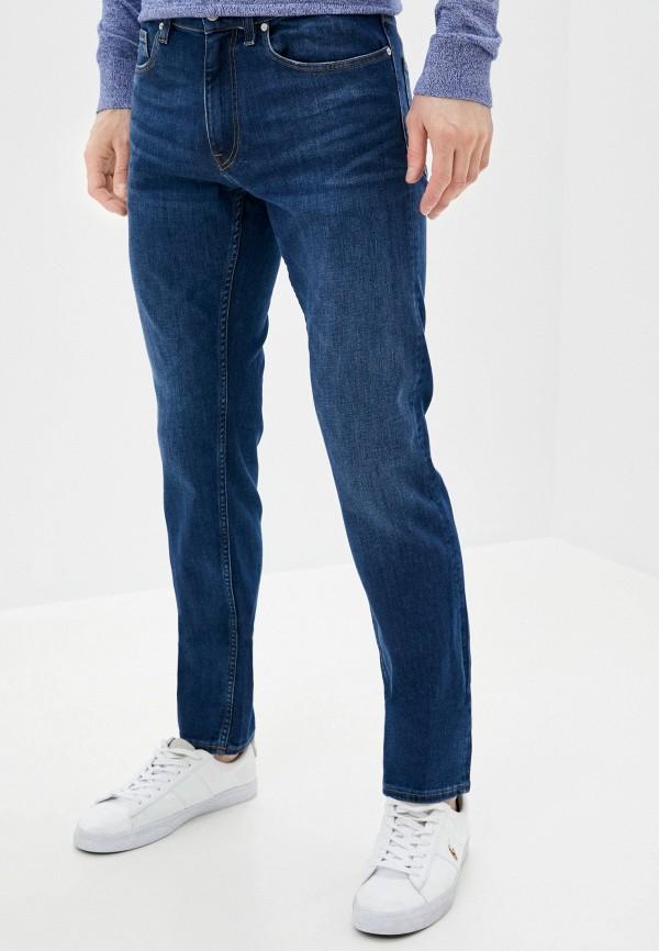 мужские зауженные джинсы calvin klein, синие