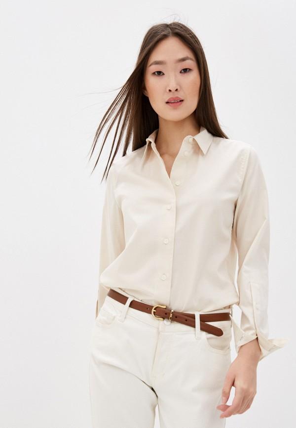 женская рубашка с длинным рукавом calvin klein, бежевая
