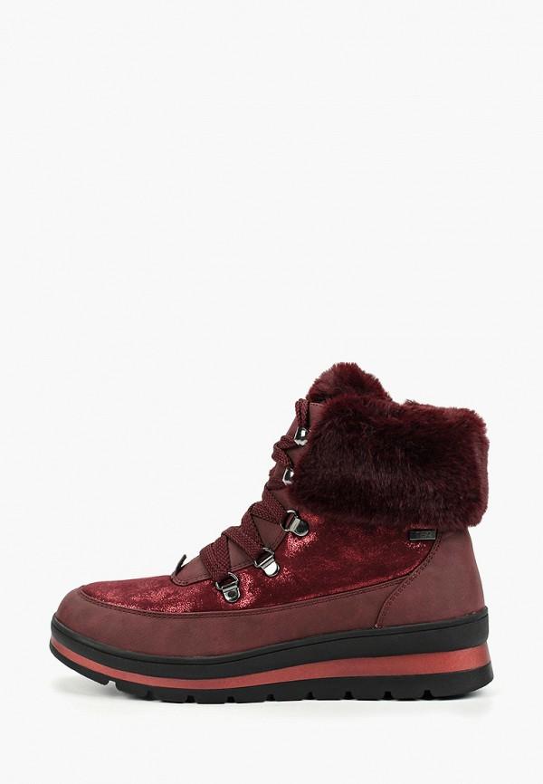 женские ботинки caprice, бордовые