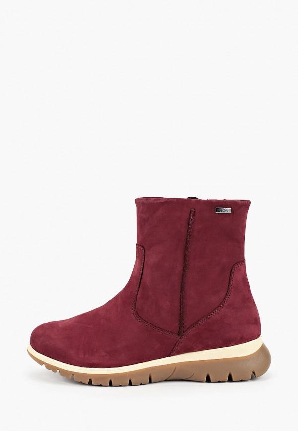 женские высокие ботинки caprice, бордовые