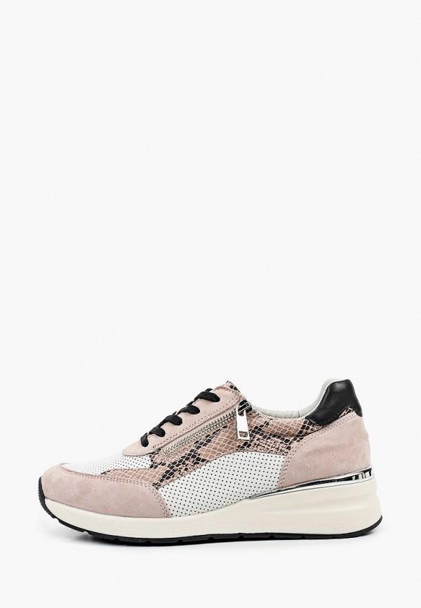 женские низкие кроссовки caprice, розовые