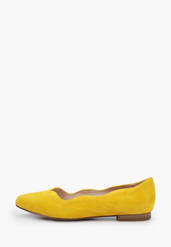 женские туфли с закрытым носом caprice, желтые