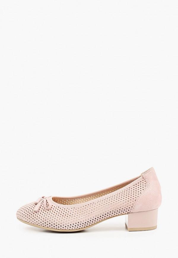 женские туфли с закрытым носом caprice, розовые