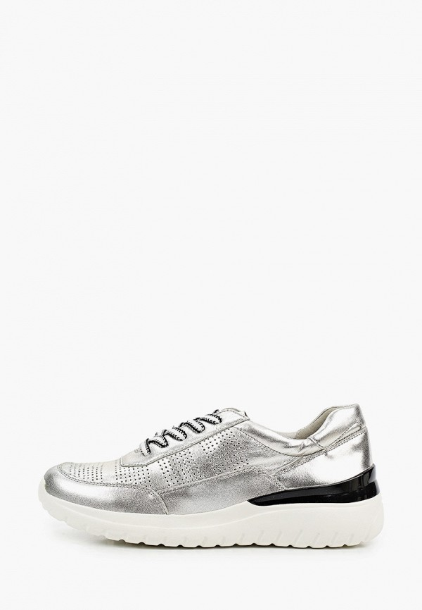 женские низкие кроссовки caprice, серебряные