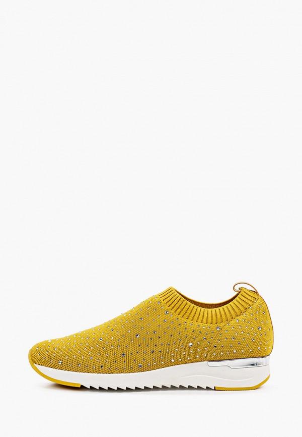 женские низкие кроссовки caprice, желтые