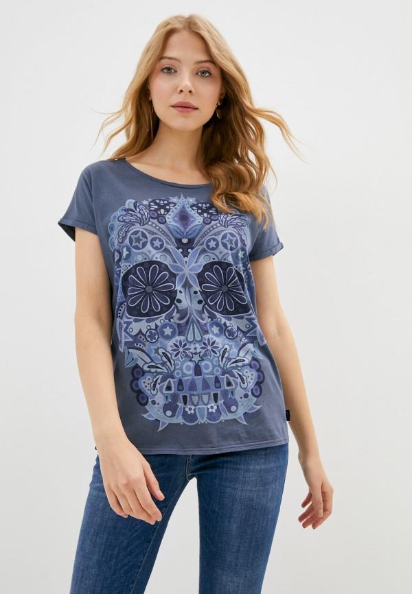 женская футболка care label, синяя