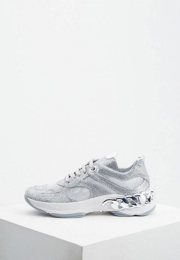 женские кроссовки casadei, серебряные