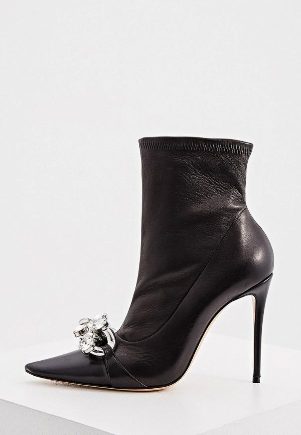 женские высокие ботильоны casadei, черные