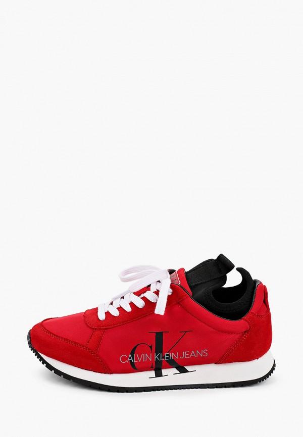 женские низкие кроссовки calvin klein, красные