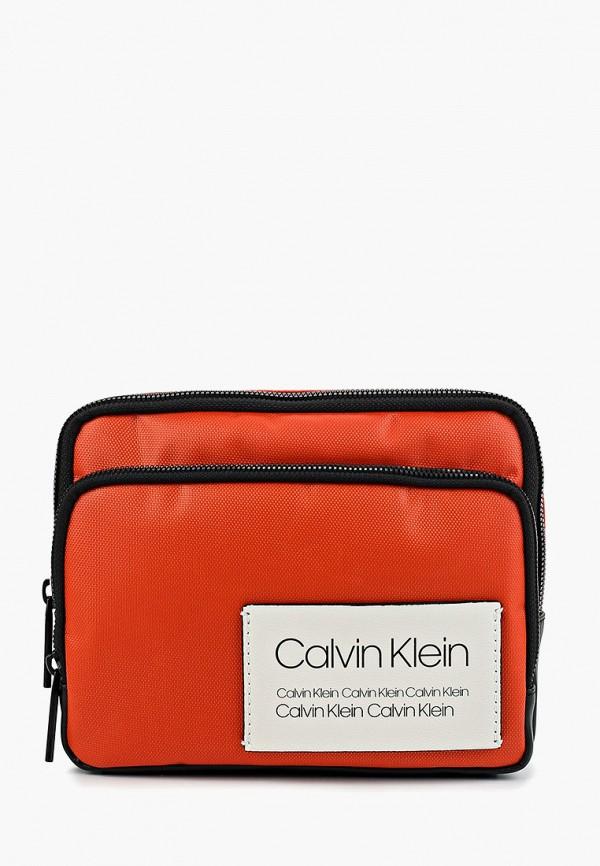 мужская сумка calvin klein, оранжевая