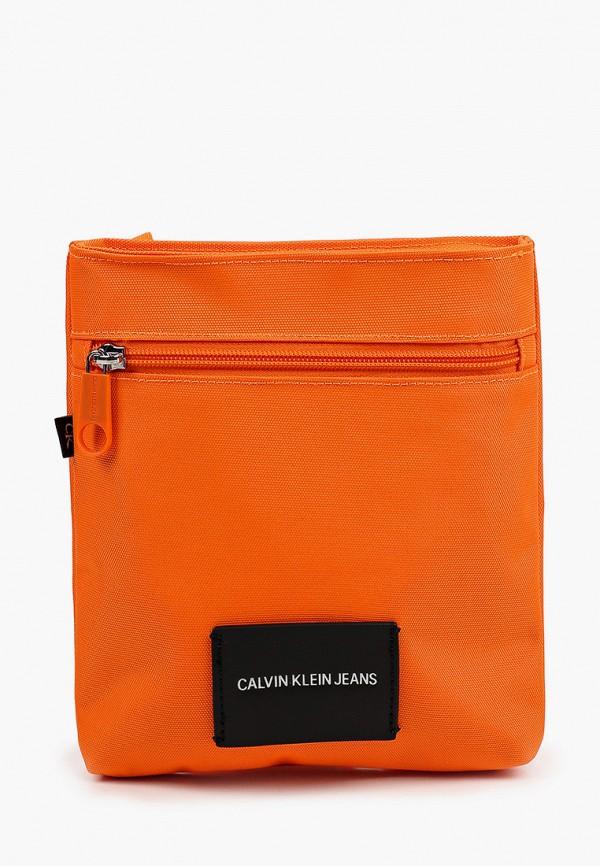 женская сумка через плечо calvin klein, оранжевая