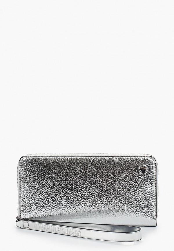 женский кошелёк calvin klein, серебряный