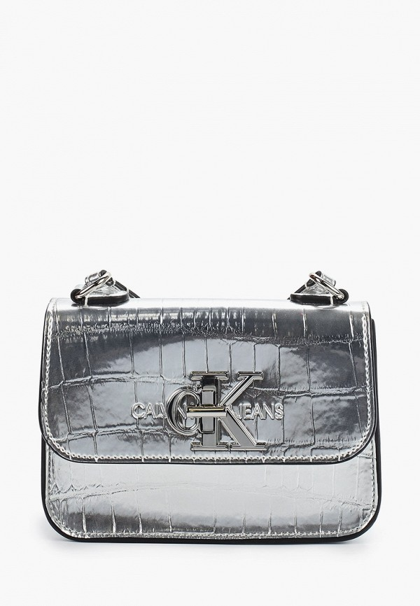 женская сумка через плечо calvin klein, серебряная