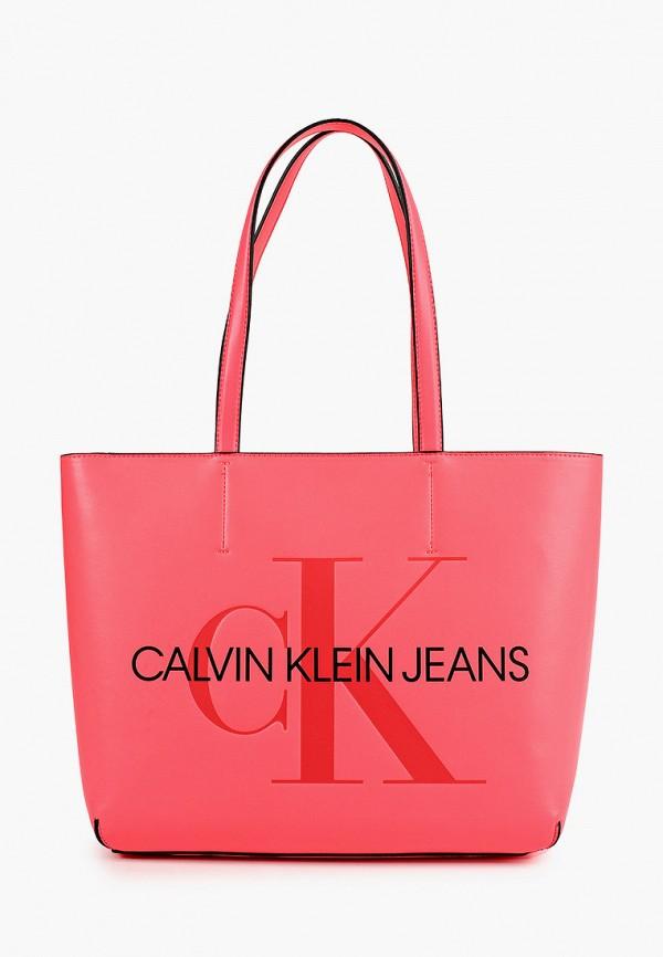 женская сумка с ручками calvin klein, розовая