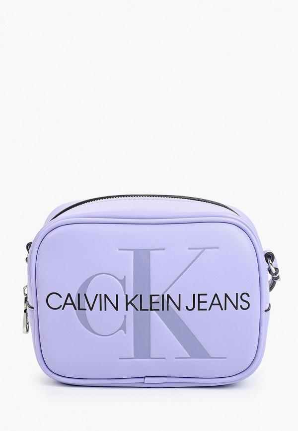 женская сумка calvin klein, фиолетовая