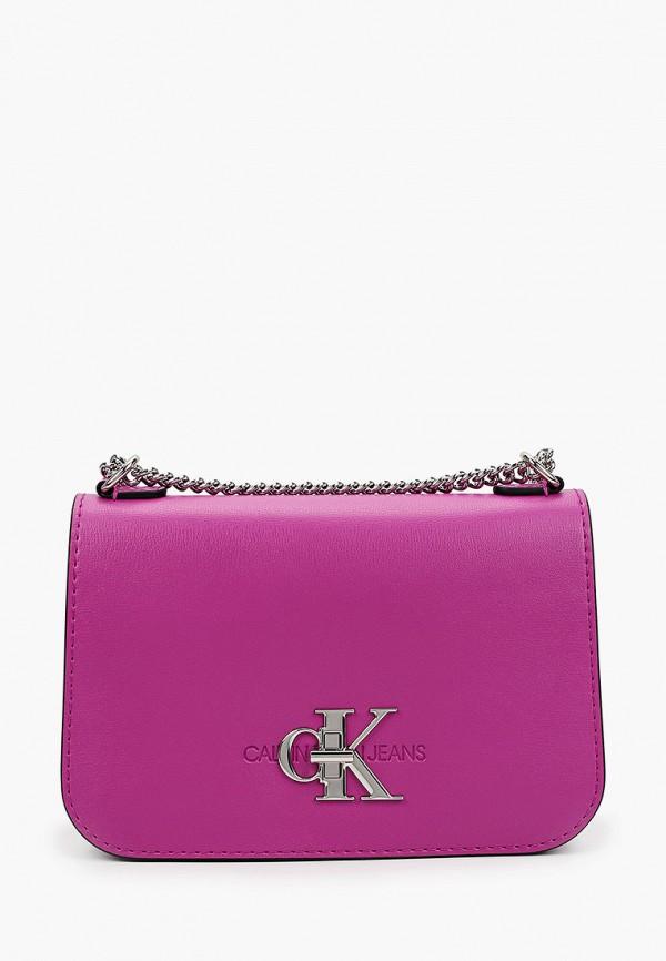женская сумка через плечо calvin klein, фиолетовая