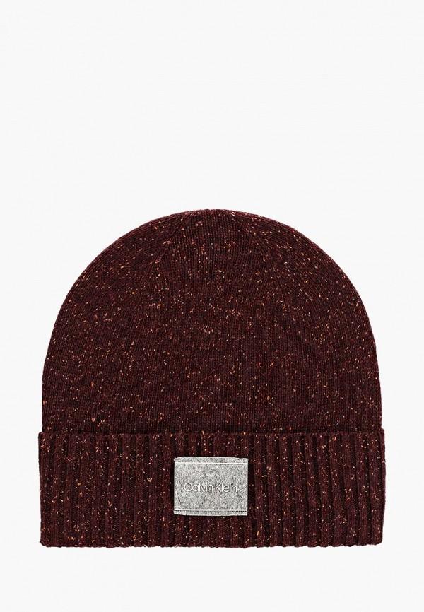 мужская шапка calvin klein, бордовая