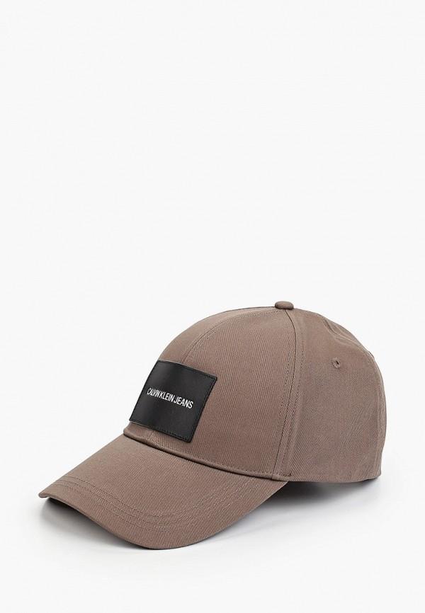мужская бейсболка calvin klein, коричневая