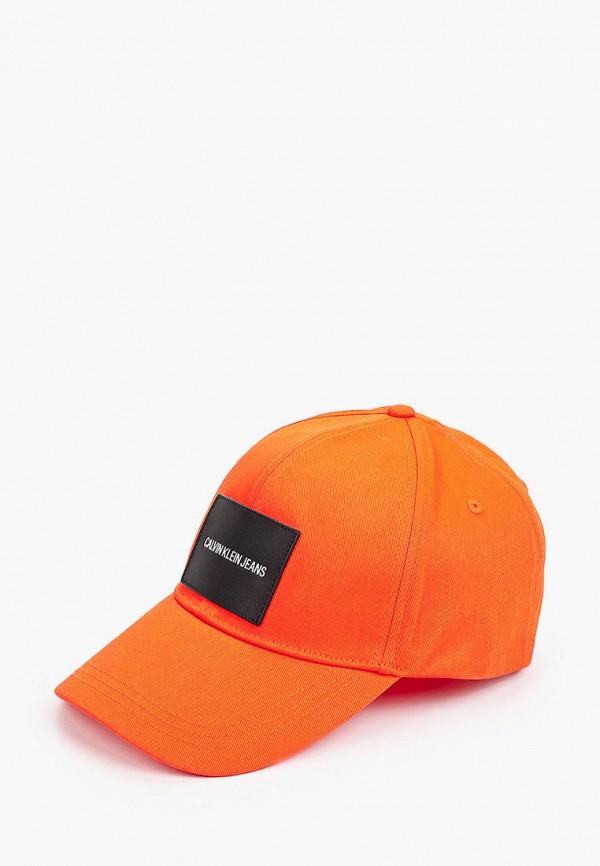 мужская бейсболка calvin klein, оранжевая