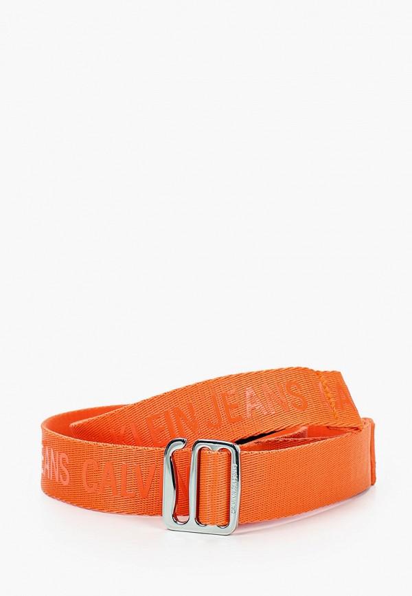 женский ремень calvin klein, оранжевый