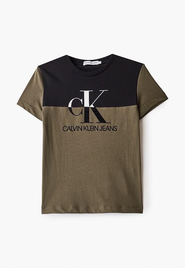 футболка с коротким рукавом calvin klein для мальчика, хаки
