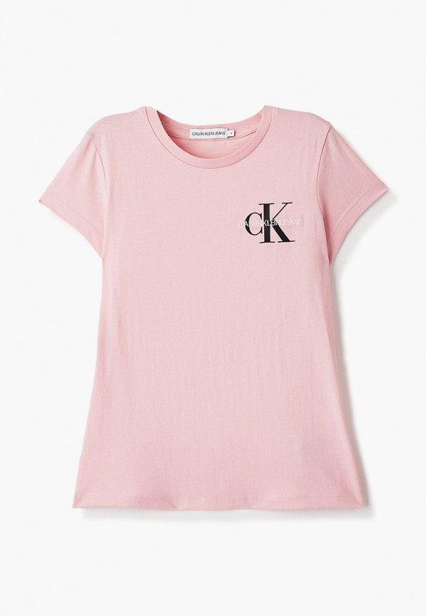 футболка с коротким рукавом calvin klein для девочки, розовая
