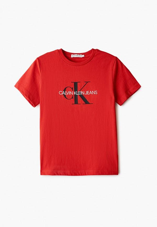 футболка с коротким рукавом calvin klein малыши, красная