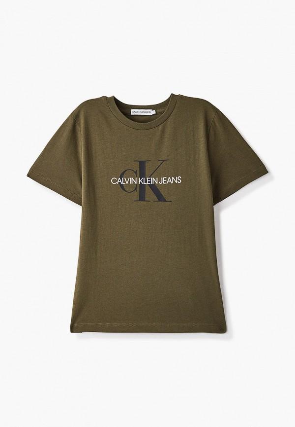 футболка с коротким рукавом calvin klein малыши, хаки