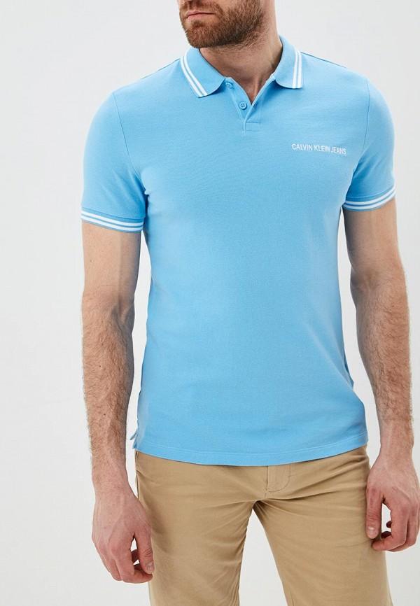 Купить Поло Calvin Klein Jeans, ca939emdukp8, голубой, Весна-лето 2019