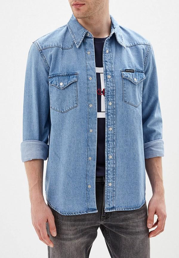 мужская рубашка calvin klein, голубая