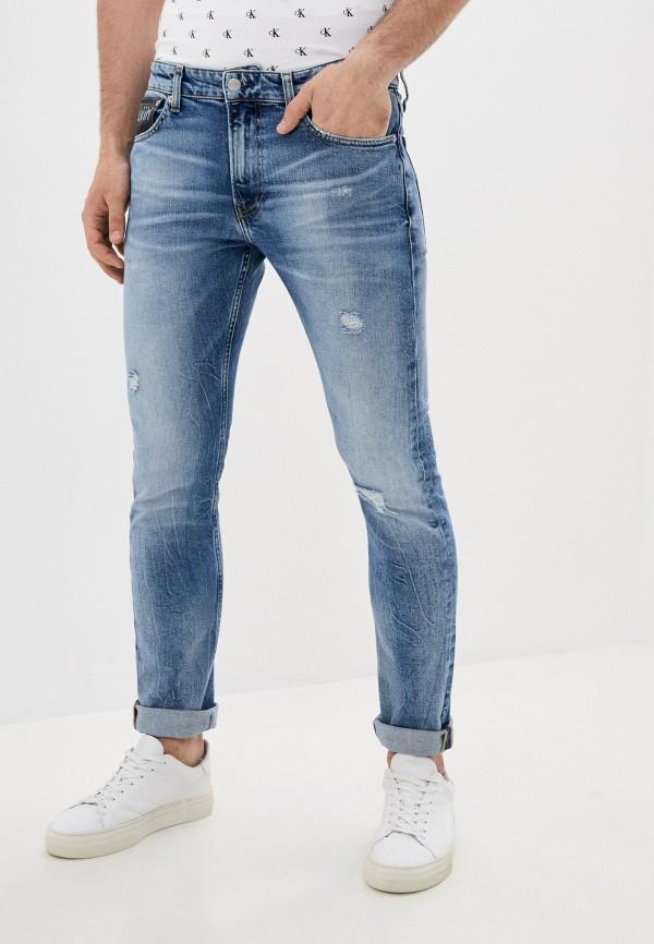 мужские зауженные джинсы calvin klein, голубые