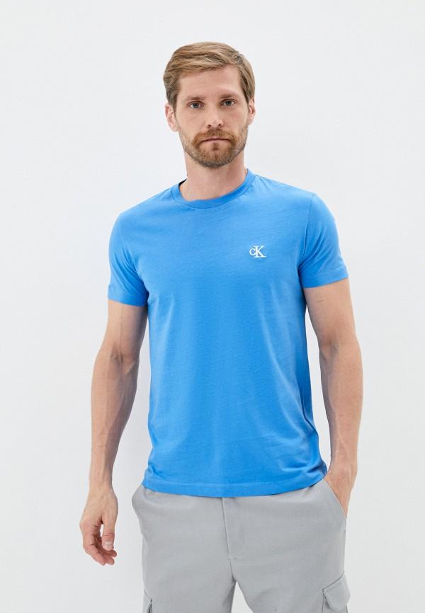 мужская футболка с коротким рукавом calvin klein, голубая
