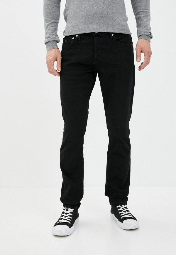 мужские зауженные джинсы calvin klein, черные
