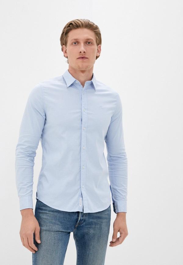 мужская рубашка с длинным рукавом calvin klein, голубая
