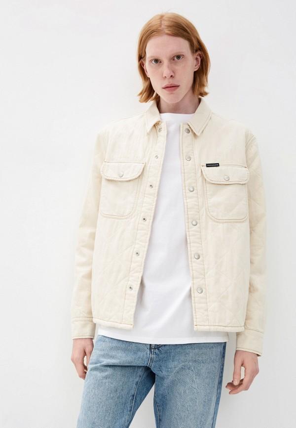 мужская джинсовые куртка calvin klein, бежевая