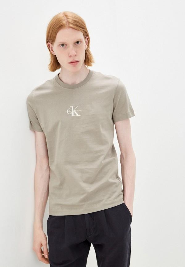 мужская футболка с коротким рукавом calvin klein, бежевая