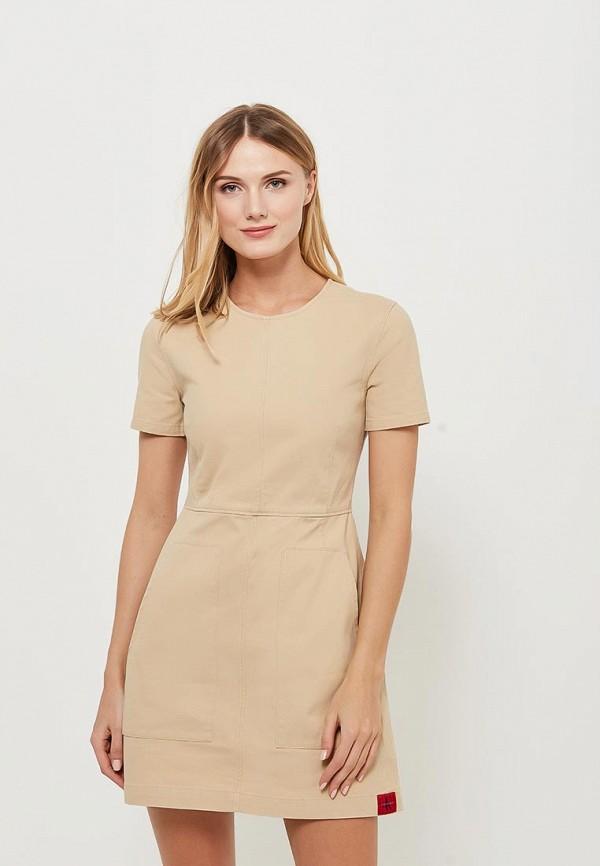Купить Платье Calvin Klein Jeans, CA939EWAUPR8, бежевый, Весна-лето 2018