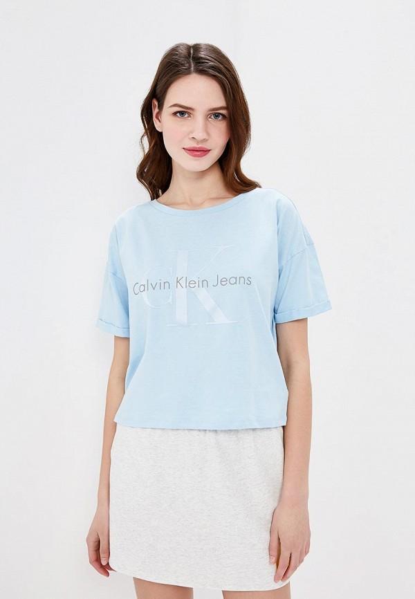 Купить Футболка Calvin Klein Jeans, ca939ewaupt0, голубой, Весна-лето 2018