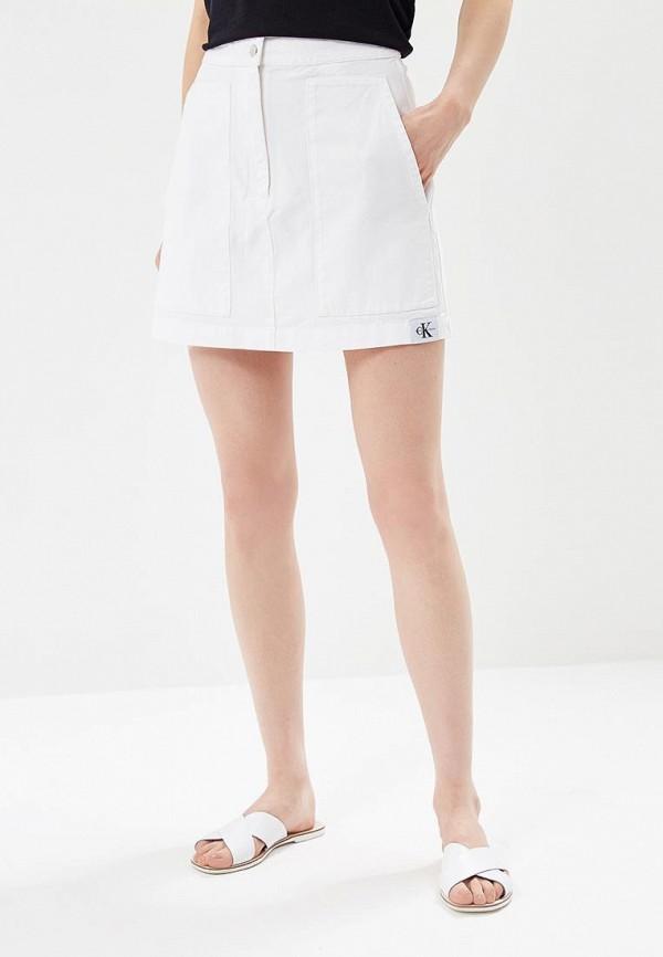 Купить Юбка джинсовая Calvin Klein Jeans, CA939EWBCAZ2, белый, Весна-лето 2018